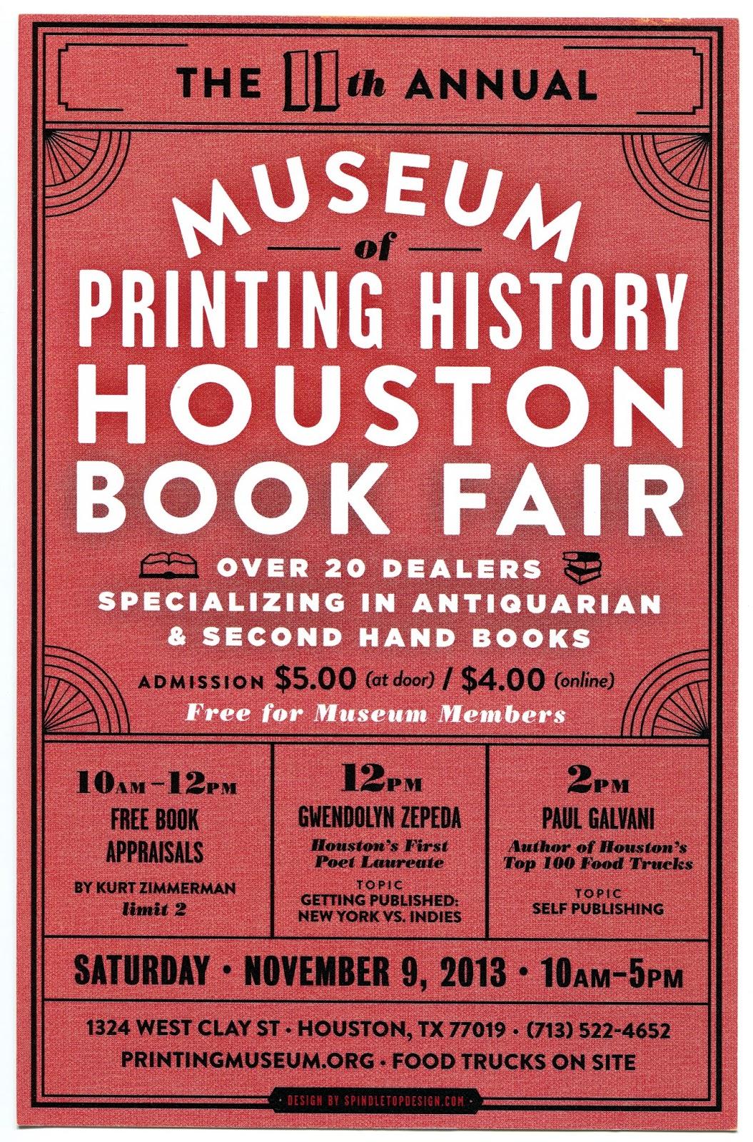 Bibliophemera Houston Book Fair At The Museum Of Printing History