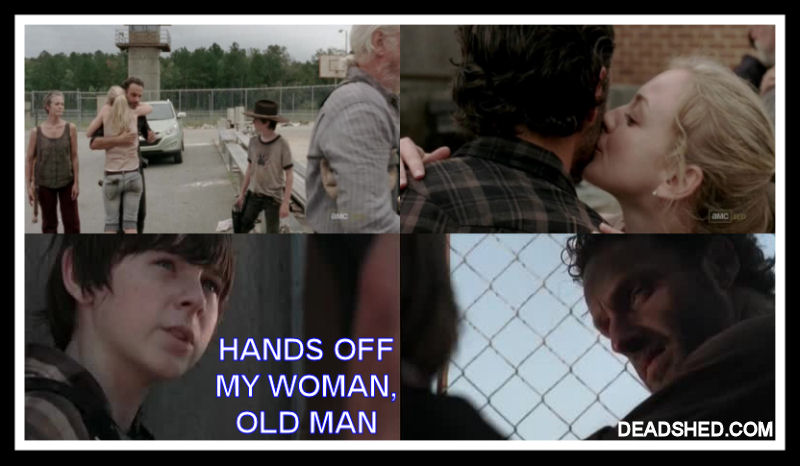The walking dead season 3 meme rick beth carl hands off old man