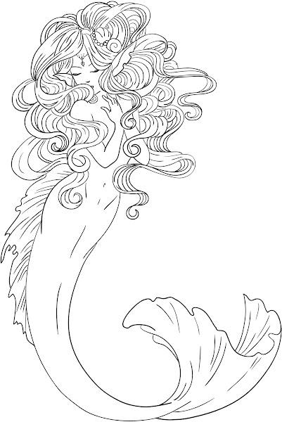 Mermaid Drawings Coloring Pages