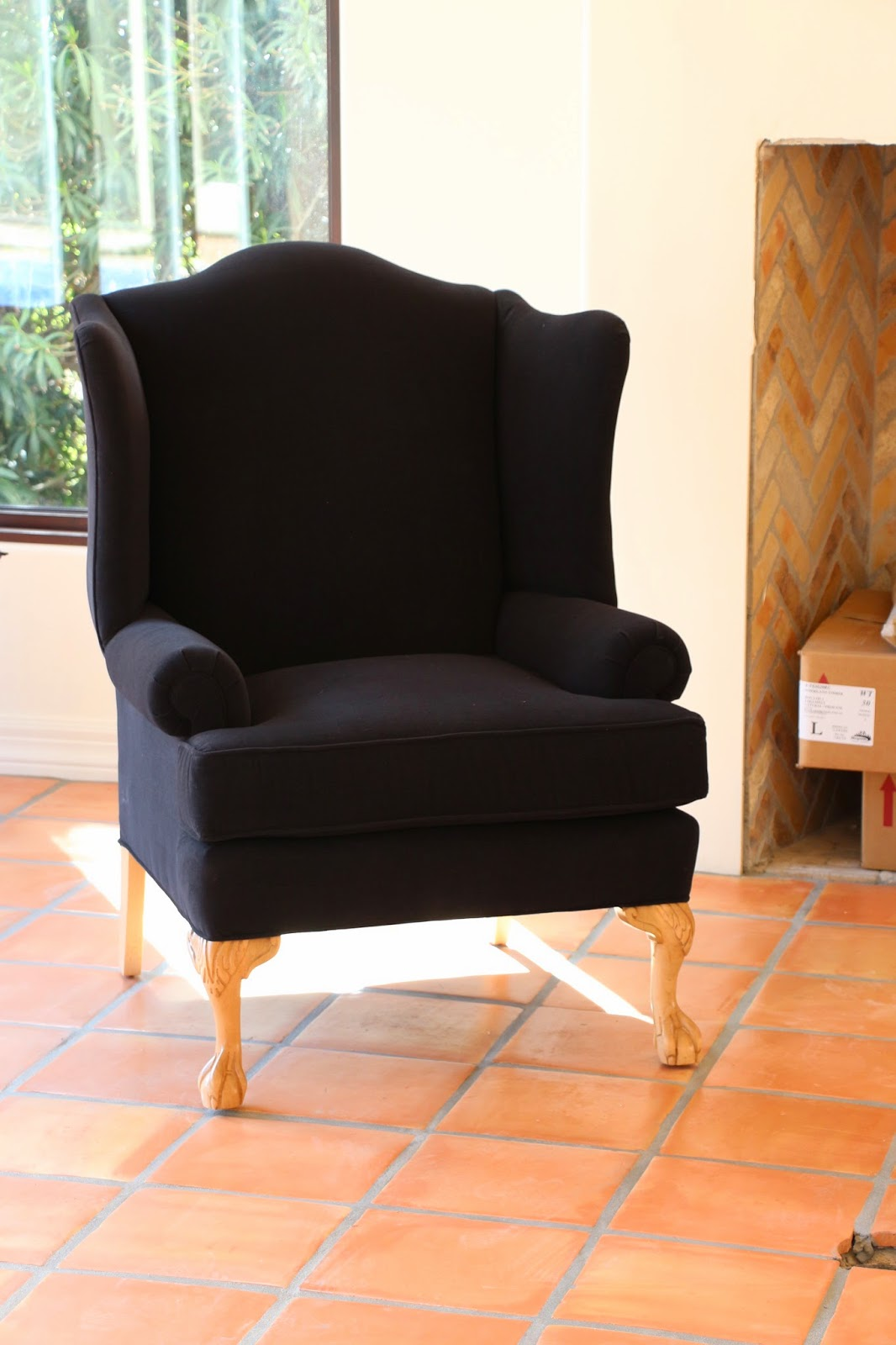 black wingback chair, wingback chair