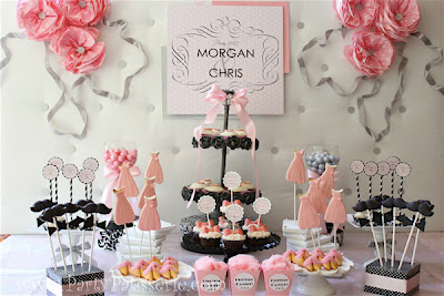 pink and black wedding theme, jack and jill bridal shower ideas