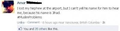 Lost his nephew jihad at airport