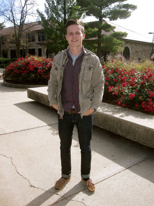 Junior philosophy major Benjamin Martin from Olathe channels his &#8220;New England professor and blue collared worker&#8221; look to display his love for the 50&#8242;s era. Major fashion props to Martin for finishing his look with an appropriate style haircut as well. Check out the article in the Daily Kansan!