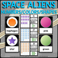 Space Classroom Decor Theme: number posters 0-31, shapes, and colors.