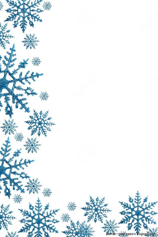 Snowflake Border With White Background Winter Time Stock Photo