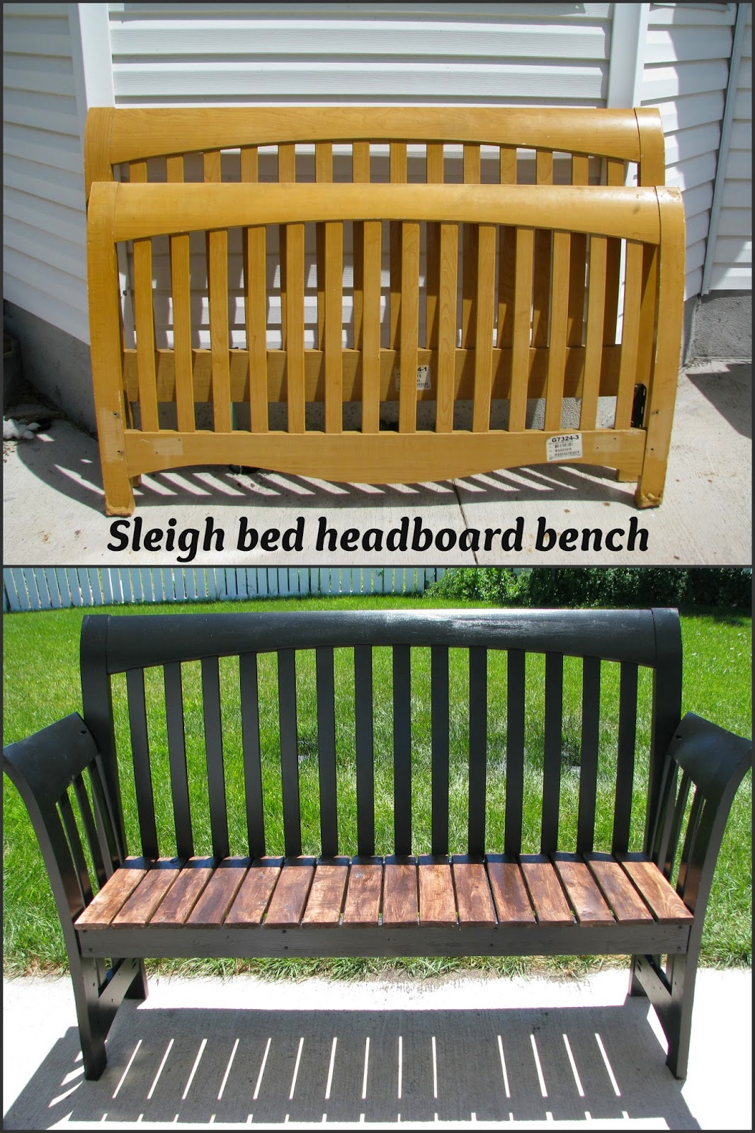 http://www.mysocalleddiyblog.com/2014/07/sleigh-bed-headboard-bench.html