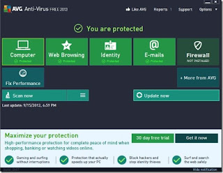 avg 2013 homepage screen shot