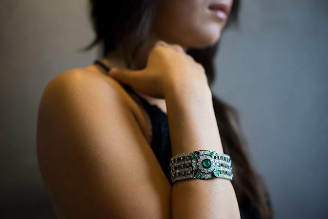 Emerald diamond black onyx bracelet statement jogani