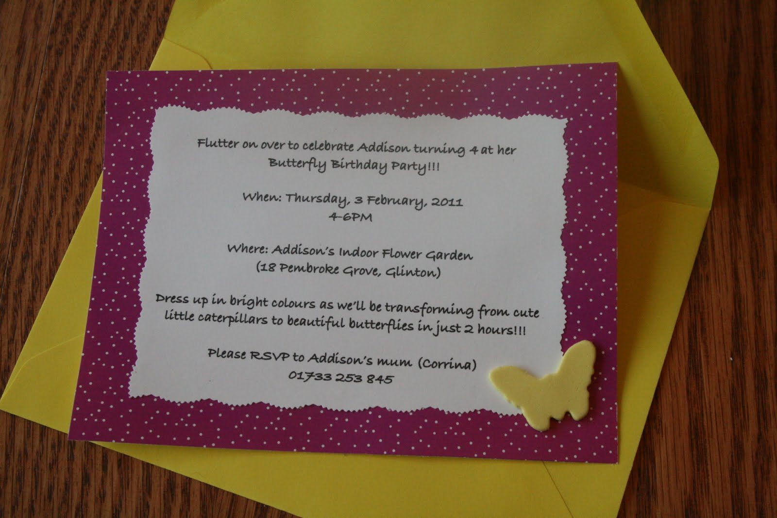 I Made The Invitations By Printing Off Wording On White Paper 4 Invites To One 85x11 Page Then Cut It Out With A Fun Edged Scissors