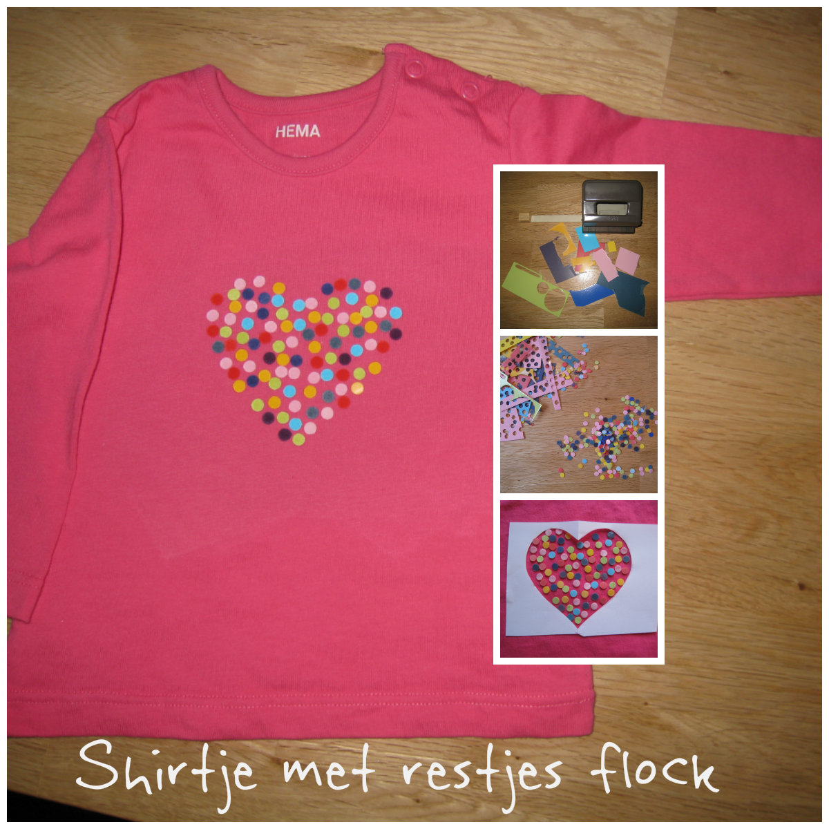 Applicatie met restjes flockfolie