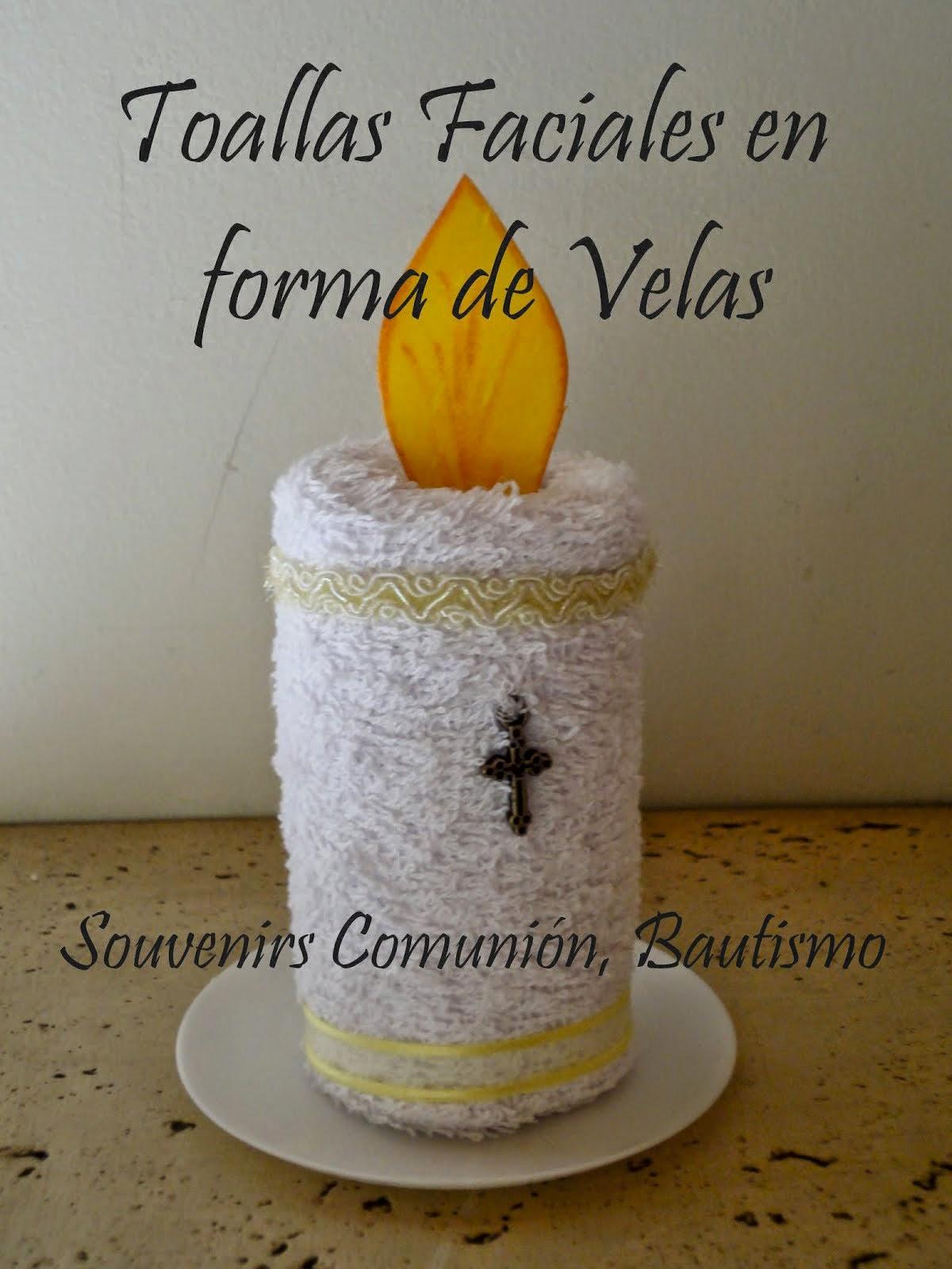 Velas en Toalla para bautismo, comunión, souvenirs