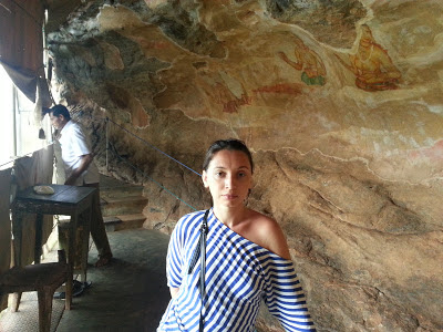 Sigiriya, Sri Lanka, inside frescoes gallery, images of ancient ladies painted with unique painting style, mystery