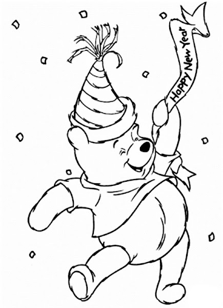 Winnie the Pooh New Year's Coloring Page