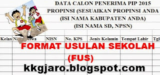 Download FUS (Format Usulan Sekolah) Calon Penerima PIP Non KPS/KKS/KIP