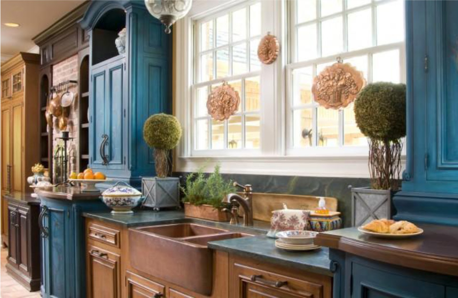 TwoColor Kitchen Cabinets Blue