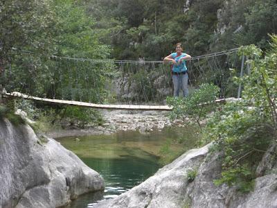 Suspension bridge over a river near Sant Aniol d'Aguja in La Garrotxa