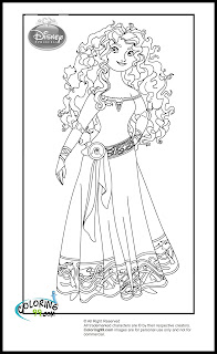 disney princess merida brave coloring pages