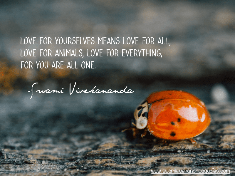 Swami Vivekananda quote: Love for yourselves means love for all, love for animals, love for everything, for you are all one.