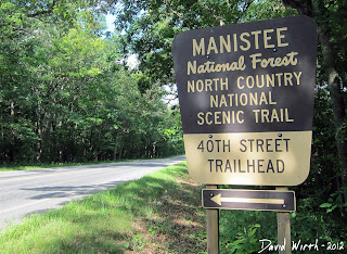 manistee national forest, north country national scenic trail, 40th street trailhead sign
