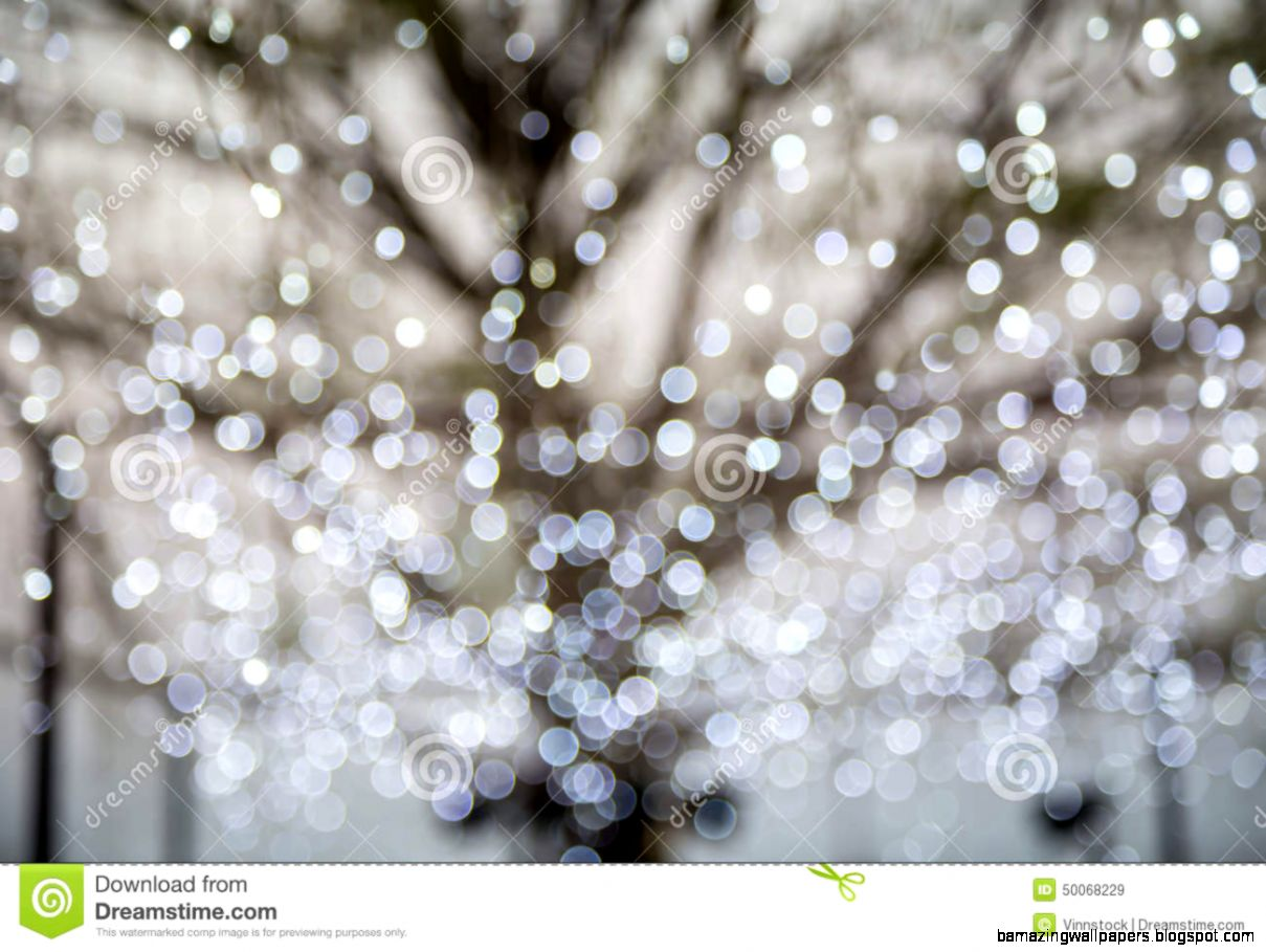 Abstract Photo Of Winter Tree And Glitter Bokeh Lights Stock Photo