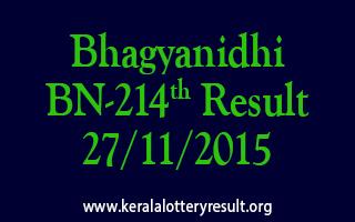 Bhagyanidhi BN 214 Lottery Result 27-11-2015