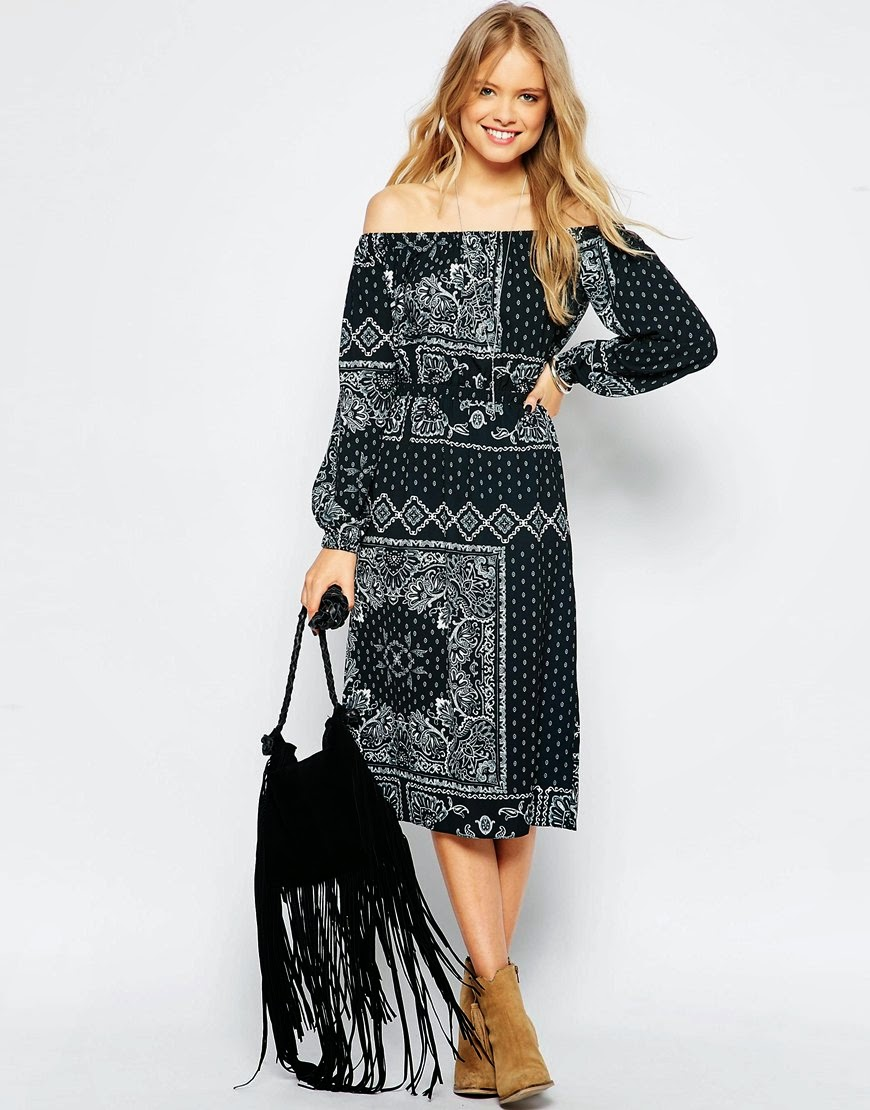 gypsy black dress, off shoulder paisley dress,
