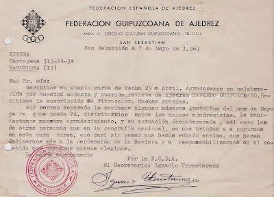 Carta de Ignacio Urrestarazu a Ángel Ribera en 1963