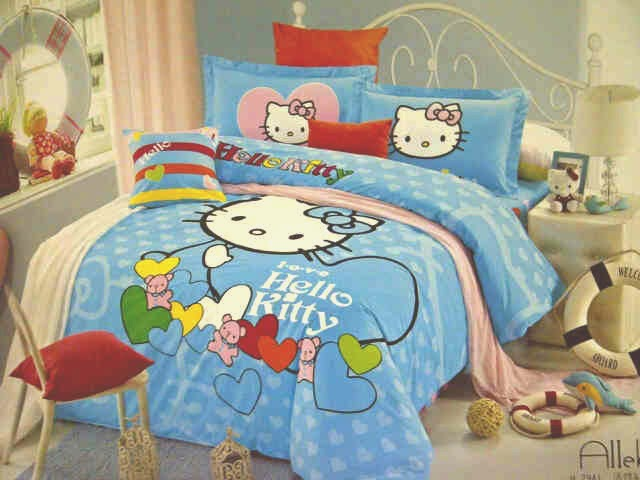 Sprei Jepang Anak Motif Hello Kitty Biru