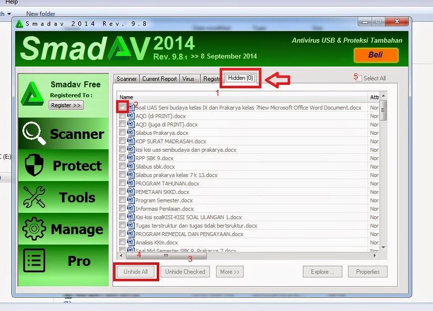 Mengembalikan file yang disembuyikan virus