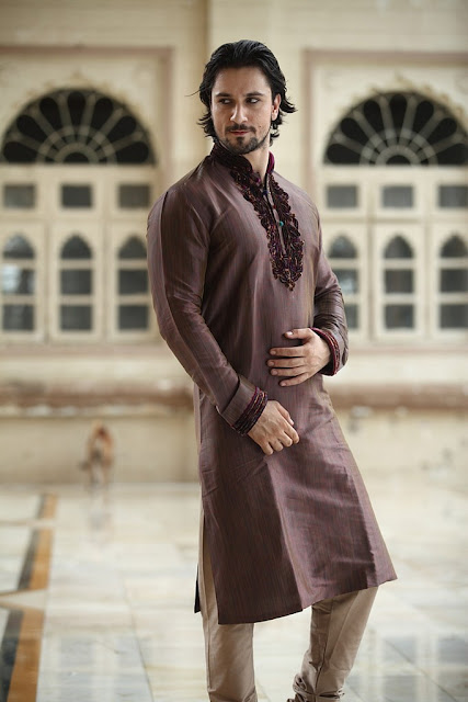 Elegant Brown Linen Pathani Suits With Churidar