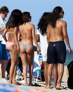 Selena Gomez wearing a Zebra Bikini and Tattoo in Miami