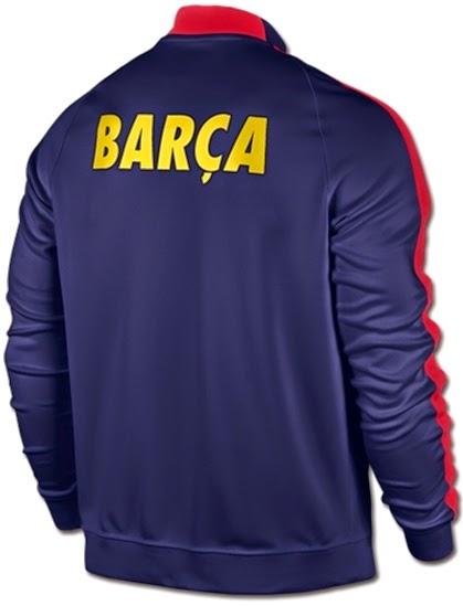 Jual Jaket Bola Musim 2015 Club Barcelona Biru Dongker Bahal Polyester Nike Thailand