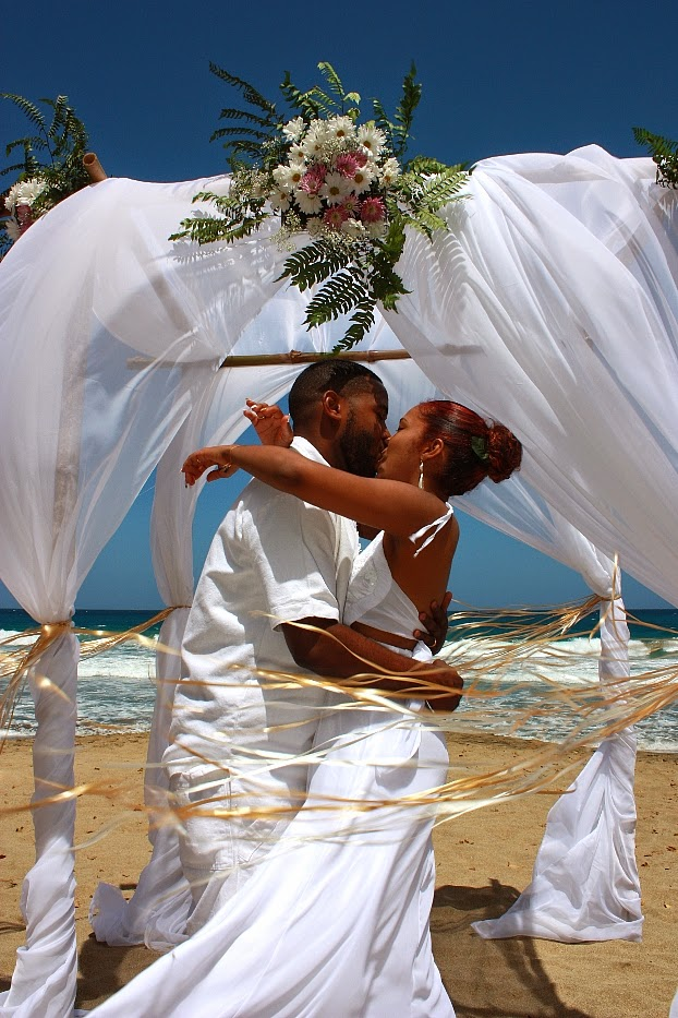Real destination weddings morning beach wedding in tobago for Weddings in the carribean