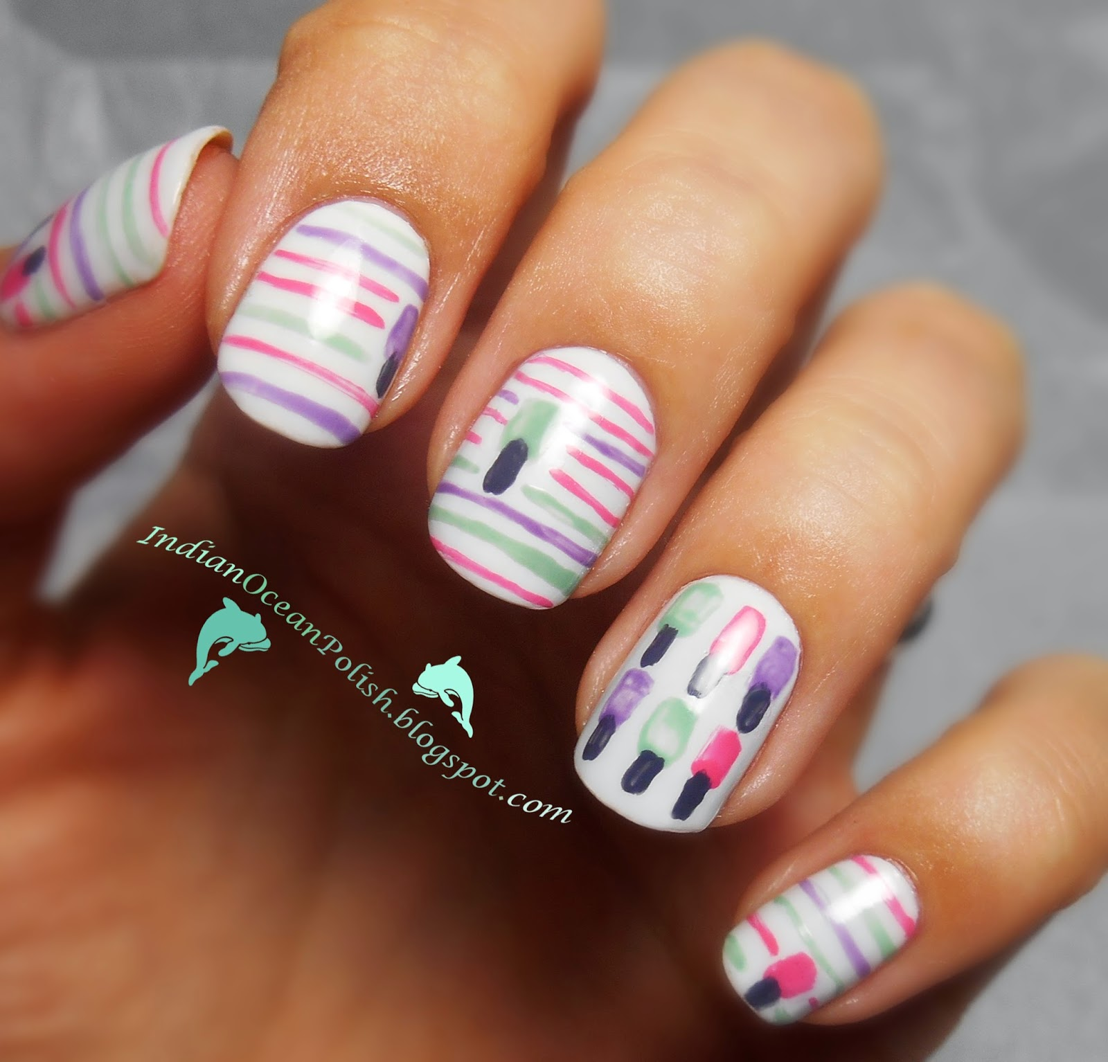 Concrete And Nail Polish Striped Nail Art: Indian Ocean Polish: Nail Polish Bottle Nail Art- Say It 3