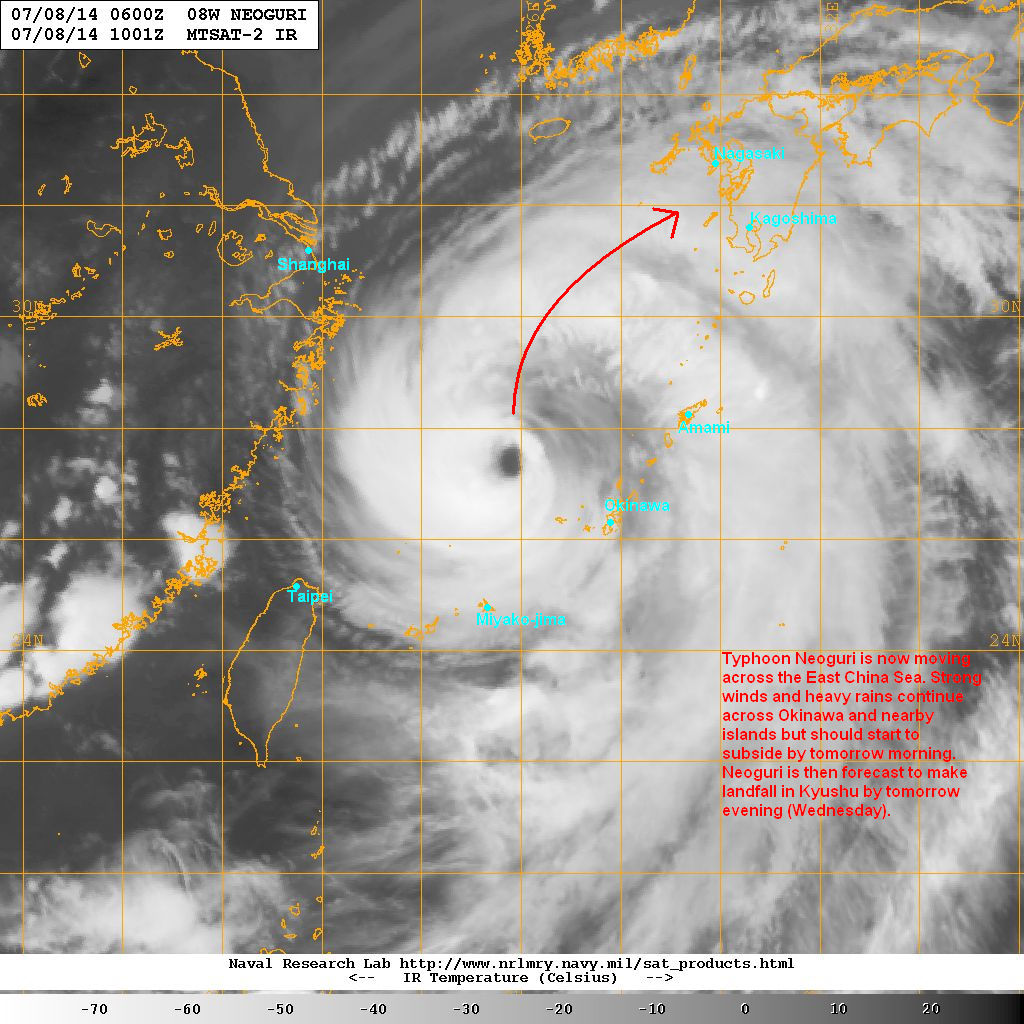 latest satellite image shows the eye of neoguri remains intact although the convection is significantly weakening sea surface temperatures in the region