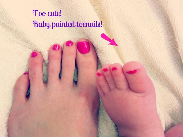 rhubarb & linen baby painted toenails