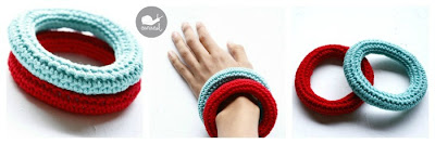 Stackable crochet bangles in red and aqua