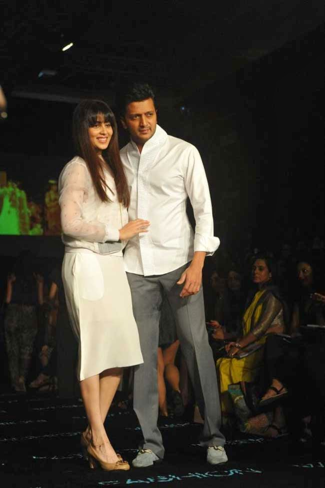 Genelia D'Souza and Riteish Deshmukh at LFW Summer Resort 2014