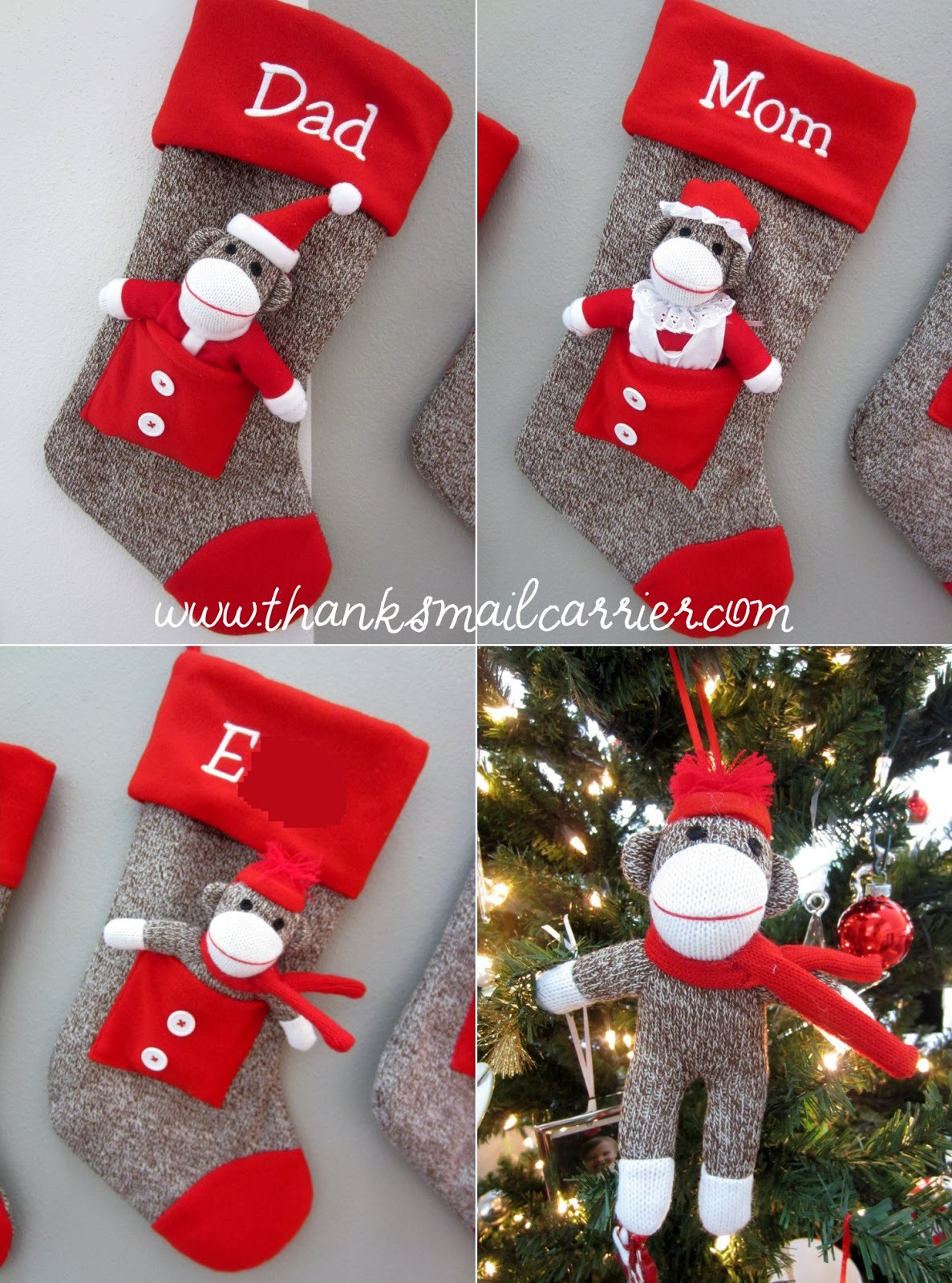 sock monkey christmas stockings