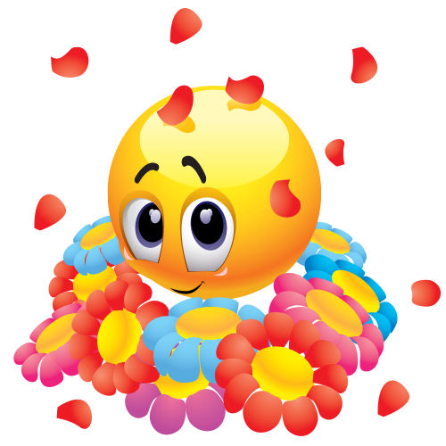 Emoticon with flowers