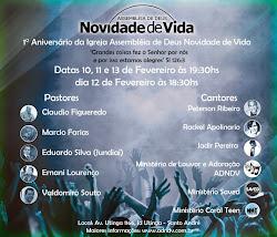 """""""1 ANIVERSÁRIO DA ASS DE DEUS NOVIDADE DE VIDA(ADNDV)""""."""