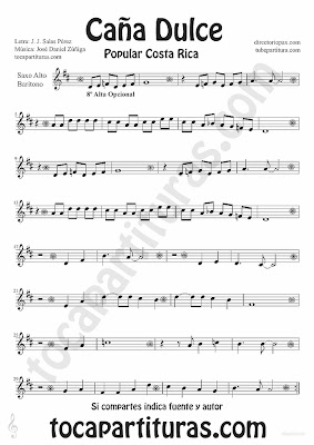 Tubepartitura Caña Dulce de J. Daniel Zúñiga y J.J. Salas Pérez partitura para Saxofón Alto y Barítono canción Tradicional de Costa Rica