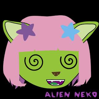 stoned dizzy Alien neko emoji