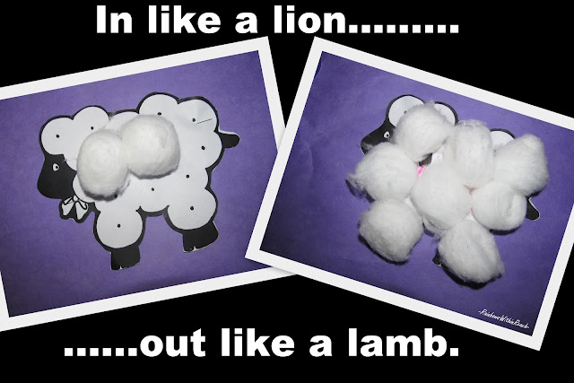 photo of: Preschool craft for lamb, children's bulletin board for spring