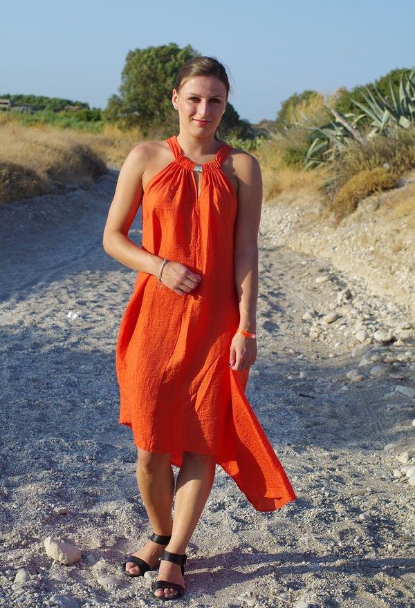 Vestidos casuales de moda color naranja