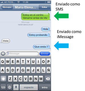 Como distinguir iMessage y SMS