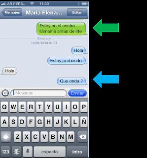 Como distinguir iMessage y SMS