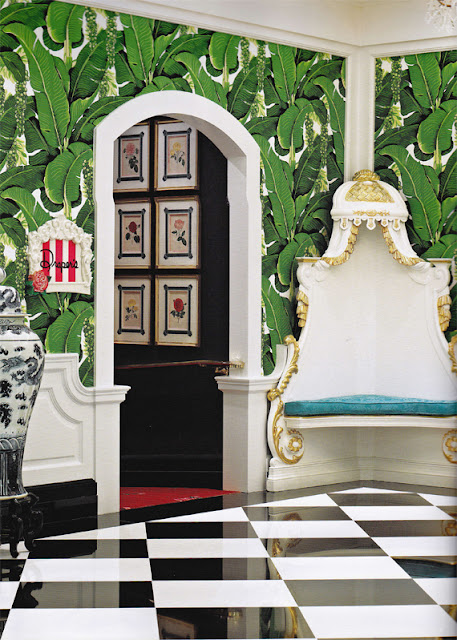 banana leaf wallpaper betty draper
