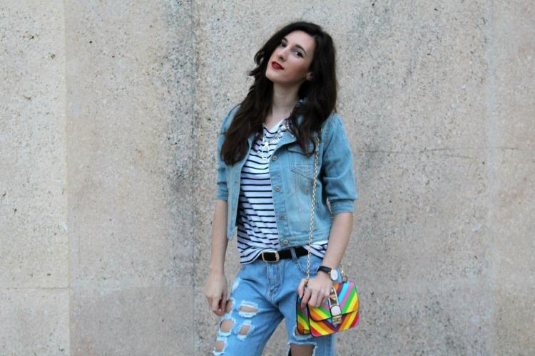 denim jacket, boyfriend jeans, stripes, valentino bag, distressed jeans