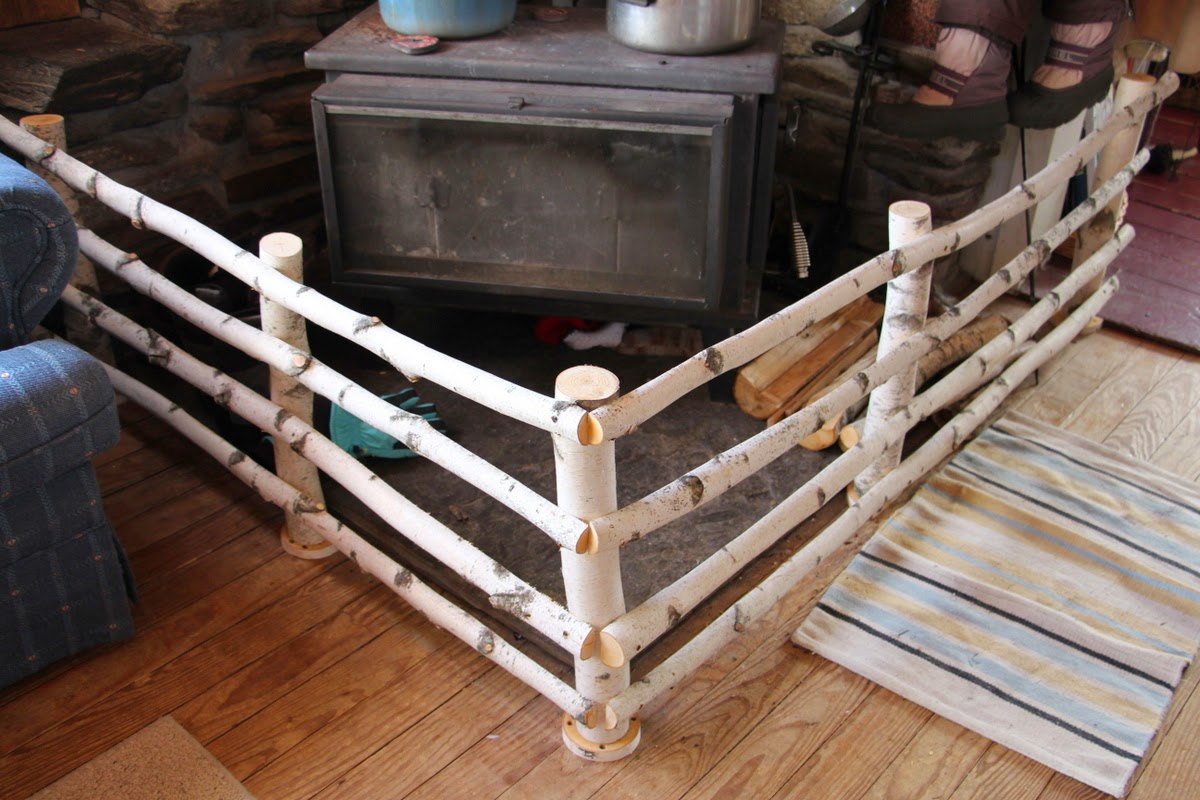 A New Birch Fence Around the Wood Stove - Plain And Joyful Living: A New Birch Fence Around The Wood Stove